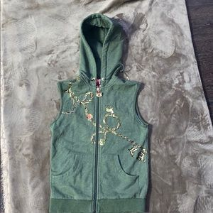 L.A.M.B Gwen Stephani ArmyGreen sleeveless hoodie